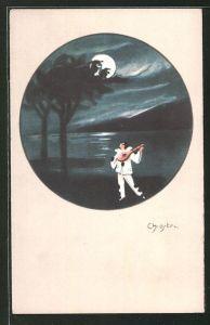 Künstler-AK Carlo Chiostri: Pierrot bei Vollmond