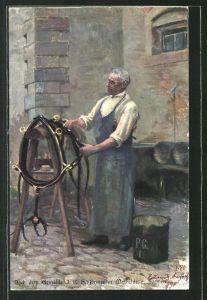 Künstler-AK Sattler bei der Arbeit