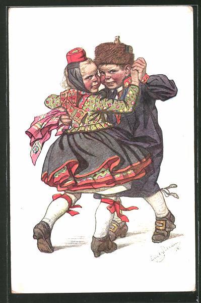 Künstler-AK Emil Beithan: Kinderpaar in Tracht beim Tanz
