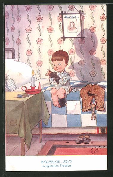 Künstler-AK T. Gilson: Bachelor Joys, Junggesellen-Freuden, Humor