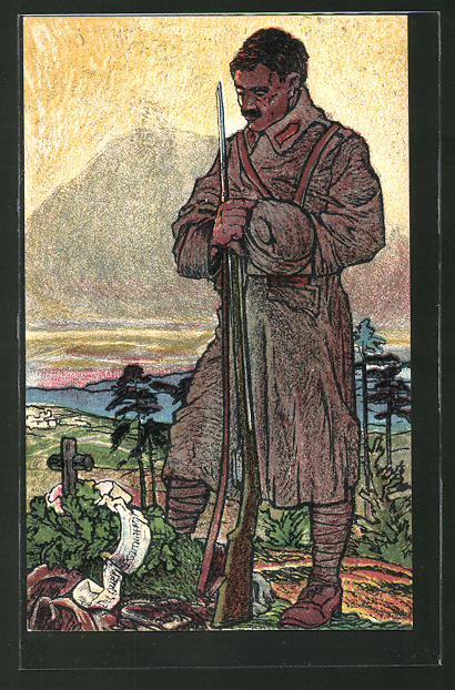 Künstler-AK Soldat in Uniform an einem Heldengrab, Eisenbahner-Postkarte