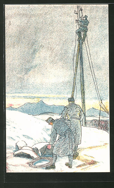 Künstler-AK Pioniere beim Telegraphenleitungsbau, Eisenbahner-Postkarte