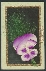 Trockenblumen-AK Lila Blüte aus Stoff und Trockenblumen