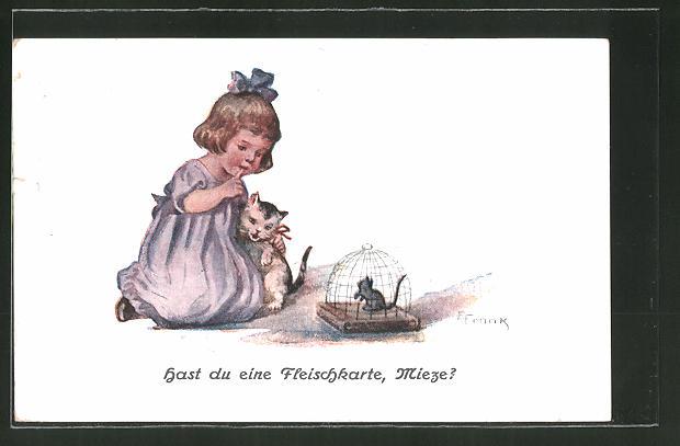 Künstler-AK Elly Frank: Hast du eine Fleischkarte, Mieze?, Mausefalle