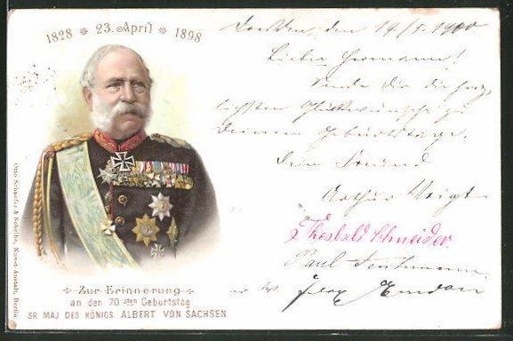 Lithographie 70. Geburtstag von König Albert von Sachsen 1898
