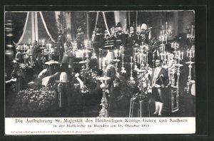 AK Dresden, Aufbahrung des Königs Georg von Sachsen in der Hofkirche, 1904
