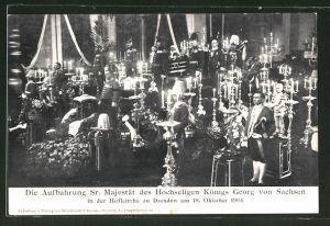 AK Dresden, Motiv von der Aufbahrung des Königs Georg von Sachsen in der Hofkirche, 1904