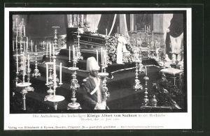AK Dresden, Motiv von der Aufbahrung Albert von Sachsen in der Hofkirche, 1902