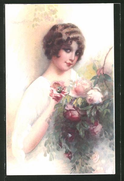 Künstler-AK C. Monestier: Junge Frau mit herausforderndem Blick an einem Rosenstrauch