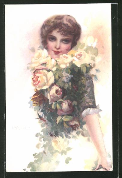 Künstler-AK C. Monestier: Schönheit verbirgt sich halb hinter gelben Rosen