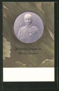 Präge-AK König Friedrich August III. von Sachsen