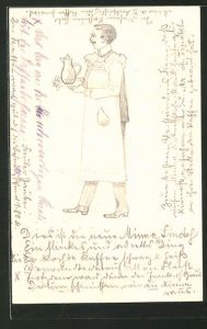 Künstler-AK Handgemalt: Mann in Schürze serviert Kaffee