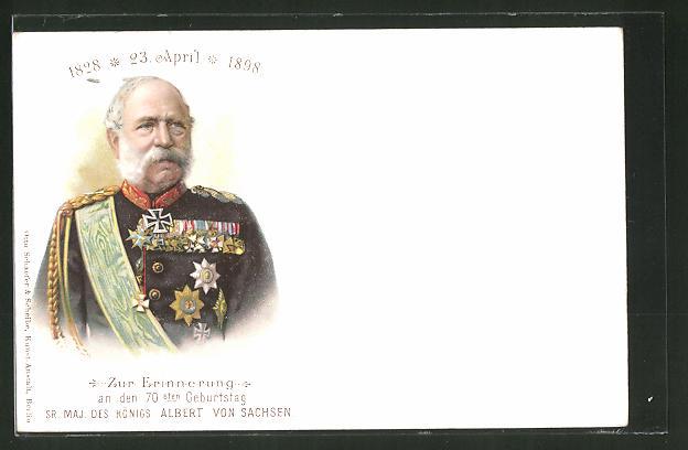 Künstler-AK König Albert von Sachsen zum 70. Geburtstag