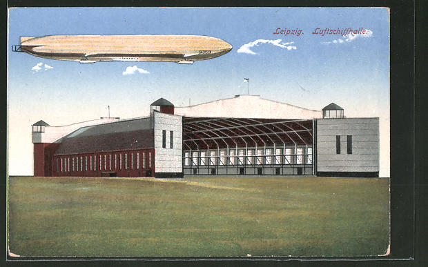 AK Leipzig, Zeppelin über der Luftschiffhalle