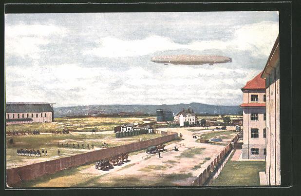 Künstler-AK Dresden, Ersatz-Abt. d. Telegraphen-Btls. Nr. 7, Zeppelin