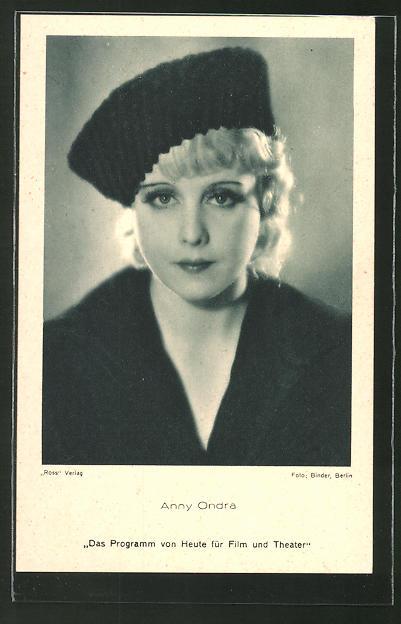 AK Schauspielerin Anny Ondra mit Hut