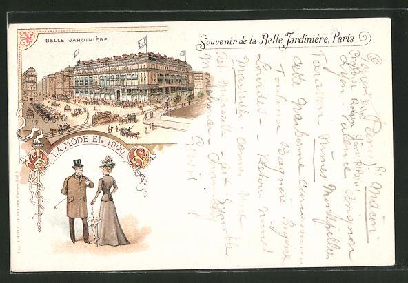Lithographie Paris, Magasins Belle Jardinière, 2 Rue du Pont-Neuf, la Mode en 1900