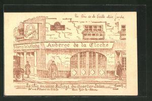 Künstler-AK Paris, Auberge de la Cloche, 30 Rue St-André-des-Arts, Coin de la vieille Rive Gauche