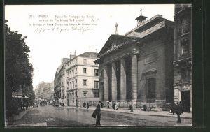 AK Paris, Eglise St. Philippe du Roule et rue du Faubourg St.Honoré