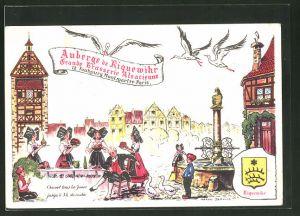 Künstler-AK Paris, Auberge de Riquewihr, Grande Brasserie Alsacienne, 12 Faubourg Montmartre