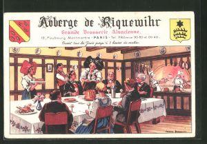 Künstler-AK Paris, Auberge de Riquewihr, Grande Brasserie Alsacienne, Intérieur, 12 Faubourg Montmartre