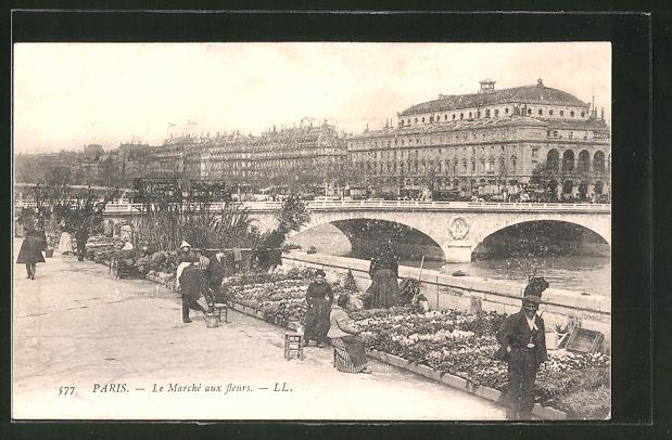 AK Paris, Le Marché aux fleurs, Blumenmarkt