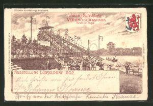 Lithographie Düsseldorf, Ausstellung 1902, Wasser-Rutschbahn im Vergnügungspark