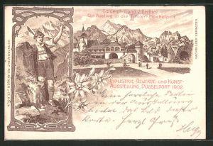 Lithographie Düsseldorf, Industrie-, Gewerbe- und Kunst-Ausstellung 1902, Suldenthal und Zillerthal