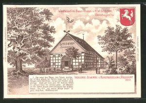 Lithographie Düsseldorf, Industrie-, Gewerbe- und Kunst-Ausstellung 1902, Westfälisches Bauernhaus