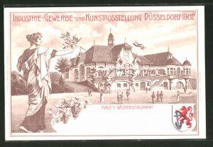 Lithographie Düsseldorf, Industrie-, Gewerbe- und Kunst-Ausstellung 1902, Haupt-Weinrestaurant