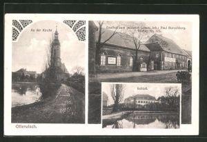 AK Otterwisch, Gasthof zum goldenen Lamm, Schloss, Strassenpartie an der Kirche
