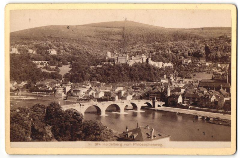 Fotografie Carl Lange, Heidelberg, Ansicht Heidelberg, Blick vom Philosophenweg