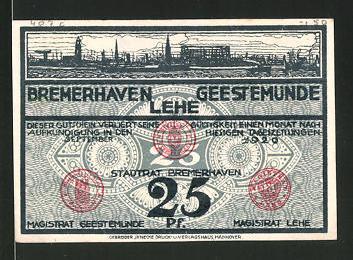 Notgeld Geestemünde 1920, 25 Pfennig, Hafenmotiv, Fische
