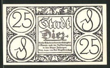 Notgeld Diez 1920, 25 Pfennig, Ortsansicht aus alter Zeit