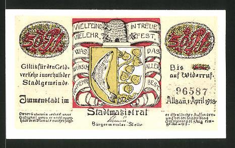 Notgeld Immenstadt 1918, 50 Pfennig, Stadtwappen, Gebirgsjäger mit Pferden