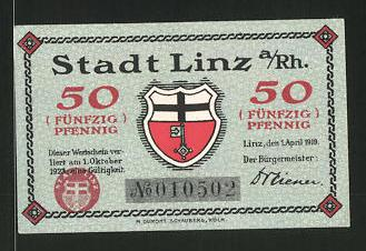 Notgeld Linz am Rhein 1923, 50 Pfennig, Stadtwappen, Gebirge und Weintraube