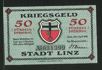 Notgeld Linz am Rhein 1923, 50 Pfennig, Stadtwappen, Rathaus