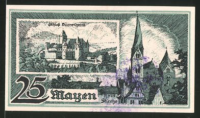 Notgeld Mayen 1921, 25 Pfennig, Schloss Bürresheim und Ortsansicht