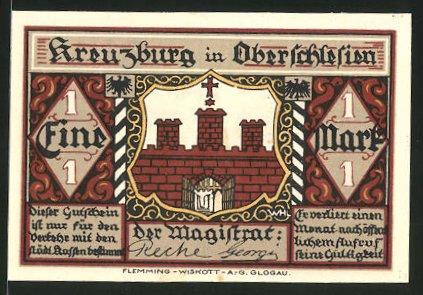 Notgeld Kreuzburg in Oberschlesien 1921, 1 Mark, Stadtwappen, die Kreuzritter in Kreuzburg