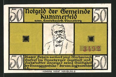Notgeld Kummerfeld, 50 Pfennig, Fritz-Reuter-Porträt,
