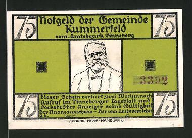 Notgeld Kummerfeld, 75 Pfennig, Fritz-Reuter-Porträt,