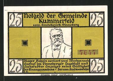 Notgeld Kummerfeld, 25 Pfennig, Fritz-Reuter-Porträt,