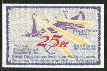 Notgeld Geestemünde 1921, 25 Pfennig, Leuchtturm und Anker, Stadtwappen und Kran
