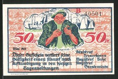 Notgeld Geestemünde 1921, 50 Pfennig, Seemann zündet sich Pfeife an, Pflug und Anker