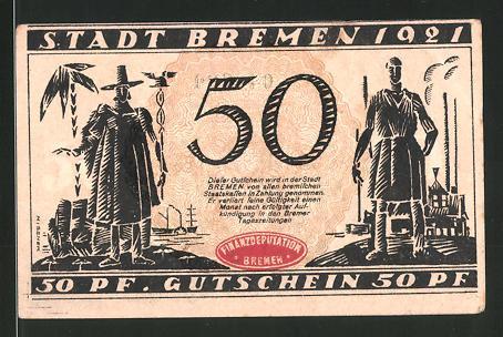 Notgeld Bremen 1921, 50 Pfennig, Arzt und Schmied, Ortsansicht