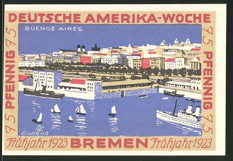 Notgeld Bremen 1923, 75 Pfennig, Stadtwappen und internationale Flaggen, Hafen von Buenos Aires