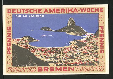 Notgeld Bremen 1923, 50 Pfennig, Stadtwappen und internationale Flaggen, Ortsansicht von Rio de Janeiro