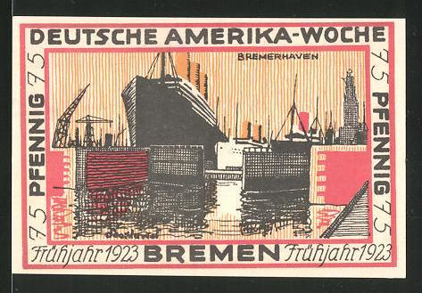 Notgeld Bremen 1923, 75 Pfennig, Stadtwappen und internationale Flaggen, Hafen von Bremerhaven