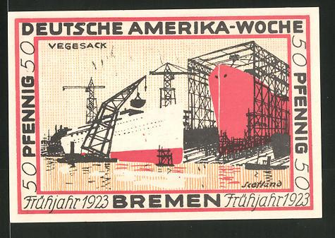 Notgeld Bremen 1923, 50 Pfennig, Stadtwappen und internationale Flaggen, Hafen von Vegesack