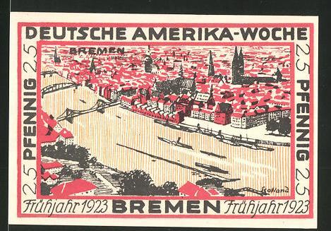 Notgeld Bremen 1923, 25 Pfennig, Stadtwappen und internationale Flaggen, Ortsansicht